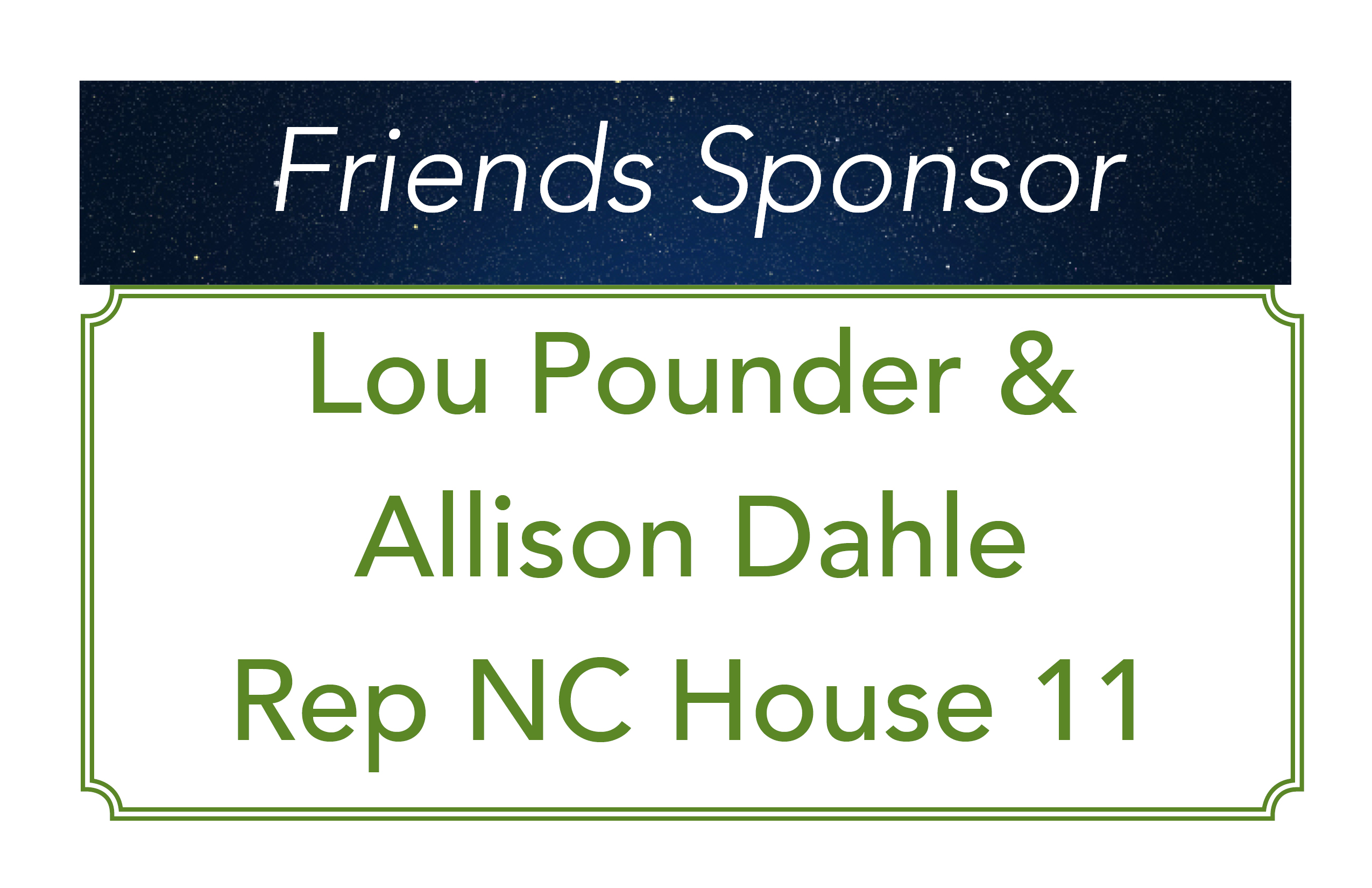 Lou Pounder and Allison Dahle, Friends Sponsor