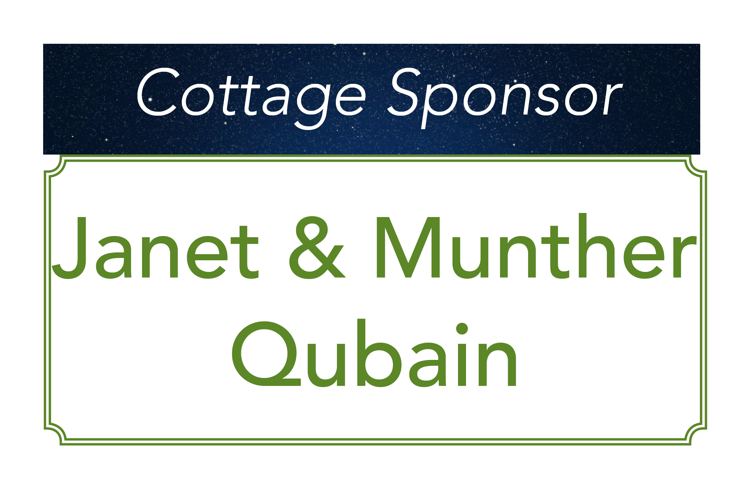 Janet and Munther Qubain, Cottage Sponsors